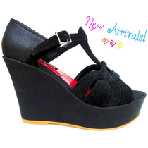 Sandalias Taco Chino Cuero Negro Y Gamuza - Frou Frou Shoes