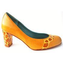 Zapatos Cuero Suela Y Reptil Taco 6,5cms - Frou Frou Shoes