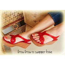 Sandalias Cuero Crocco Rojo Y Plataforma- Frou Frou