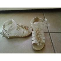 Sandalias Con Flores - Ecocuero - Talle 24 - Impecables!!!