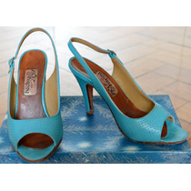 Zapatos Sandalias Taco Aguja Retro Vintage Cuero Turquesa
