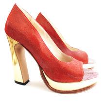 Zapatos Cuero Rojo Y Dorado Plataforma Taco- Frou Frou Shoes