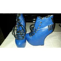 Zapatos Plataforma Mujer Taco Curvo Importados Con Tachas !!
