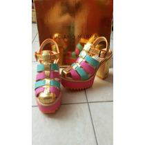 Sandalias Zapatos Taco Luciano Marra Cuero N36 Únicas En Ml