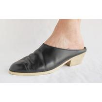 Zapatos Mujer Cuero Negro Talon Descubierto N39 Largo 25,5cm