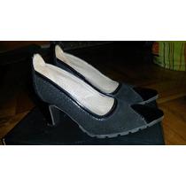 Hermosos Zapatos De Cuero, Combinado Con Gamuza Y Charol!