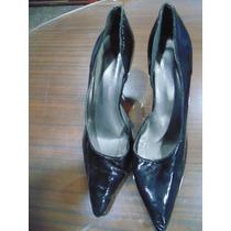 Sandalias Zapatos Stiletto Talle 39 Negros Charolados