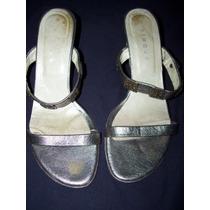 Sandalias De Mujer Blaque Nro. 36. Color Peltre. Usadas.