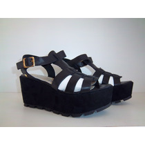 Zapato Mujer Sandalias Plataforma Forrada Cuero Praxis