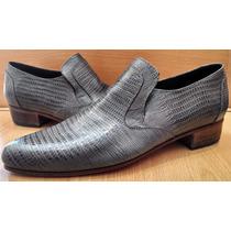 Zapatos Cuero 100% Labrado Simil Reptil,suela,sin Cordones