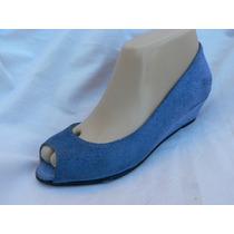 Sandalia Taco Chino Nº 35 Nueva Gamuza Azul