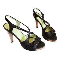 Zapatos Negros Taco Mujer Noche Fiesta Cuero