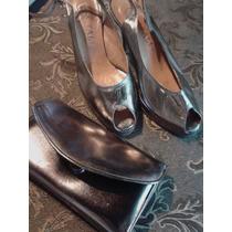 Sandalias De Vestir Nº 37 De Cuero- Peltre Con Sobre