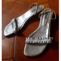 Zapatos Sandalias Bajas Plateadas - Taco 3cm - Talle 39
