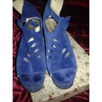 Sandalias Caladas Gamuza Azul Taco Chino 40 Comodísimas!