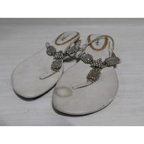 Sandalias Mujer Blancas Piedras Y Strass