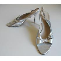 Sandalias Plateadas Cuero Numero 40 - Zapatos