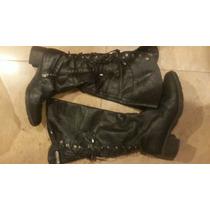 Botas Zapatos Sarkany Cuero Negro Tachas Plateadas Ksk Prune