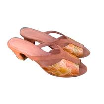 Sandalias Zapatos Zuecos Con Taco En Cuero Mujer Marron