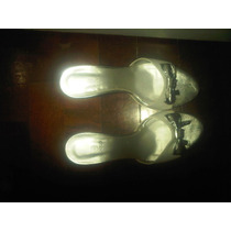 Sandalias Blaque Nuevas Sin Uso Cuero 100% Blanco Dorado T36