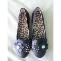 Zapatos Chatitas Importadas Con Tachas Y Flor - Nuevos