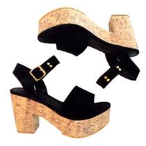 Zapatos Mujer Taco Sandalias Tachas Cuero Plataforma S16