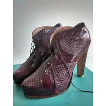 Zapatos De Cuero Talle 38. Color Vino