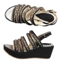 Sandalias Mujer Plataforma Zapatos Tiritas Trenza Cuero