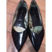 Zapatos Chatas Charol, Marron, Punta, Viento Marea, Talle 38