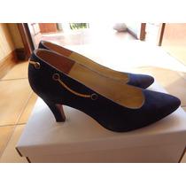 Zapatos Belle De Jour Gamuza Azul Con Cadena Dorada T 37
