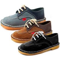 Zapatos T/ Kickers Colegial Cuero Cordon 22-40 Children
