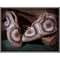 Pantuflas De Lana En Crochet, Con Suela. Artesanales