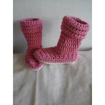 Botas Tejidas Al Crochet Con Suela
