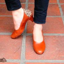 Zapatos Stilettos De Cuero Mocasines Punta Redonda Botas