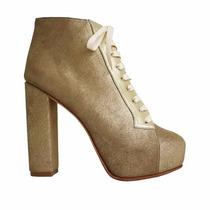 Clippate Botinetas Zapatos Dorados Taco Plataforma Escondida