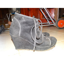 Zapato Plataforma Gamuzado Negro Talle 37