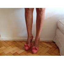 Zapatos Taco Y Plataforma Gamuza Fiesta Salmón. Sexys.