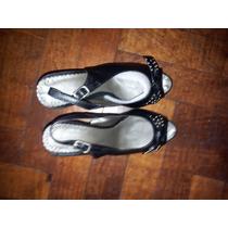 Zapatos Sandalias Cuero Lady Stork Plataforma Oculta T.38
