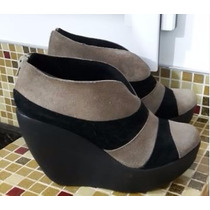 Botineta Gamuza Nro 40 Pamuk Con Cierre Taco Alto Zapatos