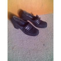 Zapato Dama Gamuza Y Charol Talle 35 Elastizados(onda Retro)