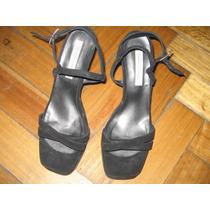 Zapatos Sandalias Taco Alto Negros De Fiesta. Promo!