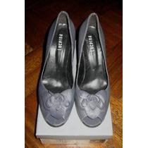 Zapatos De Cuero Gris Nº39 Peep Toe