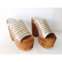 Sandalia Cuero Gamuza Caramelo - Zueco Mujer - Araquina Calz