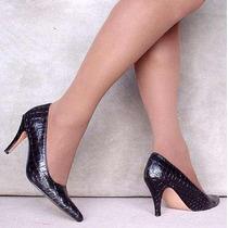 Finos Zapatos Clásicos En Lagarto Negro Taco Aguja 41 Al 44