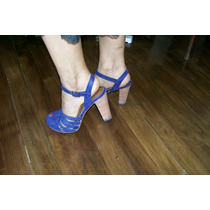 Liquido Sandalia Cuero Azul N°37 Una Sola Puesta, Platafor