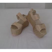 Sandalias Plataformas De Cuero Beige Nº 40 Suela De Goma