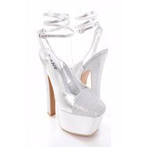 Zapatos Fiesta Quince Madrinas Importados Plateados Glitter