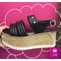 Zapato Sandalia Alta Con Plataforma Tira De Canelon Y Tacha