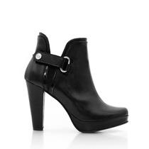 Botinetas De Cuero Con Plataforma Y Hebilla Zapatos Blaque