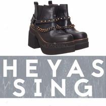 Botas Heyas Sing Cuero Negro | Zapatos Plataforma | Araquina